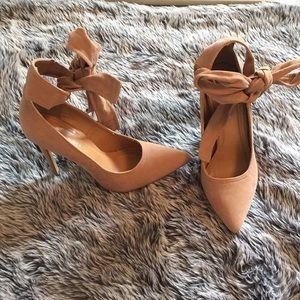 Tan ankle wrap heels